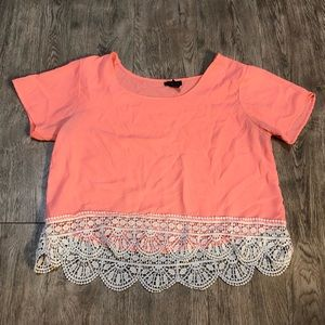 Rue 21 Crop Top Bright Coral with Crochet Sz M